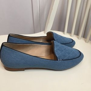 New Blue Quilt Stitch Flats Loafers Size 8.5M